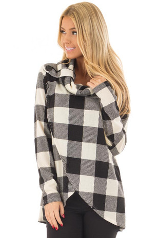 Black and Ivory Plaid Cowl Neck Wrap Style Sweater front closeup