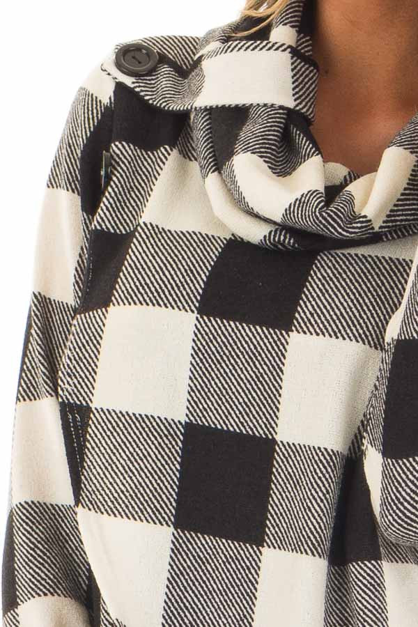 Black and Ivory Plaid Cowl Neck Wrap Style Sweater front detail