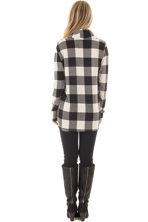 Black and Ivory Plaid Cowl Neck Wrap Style Sweater back full body