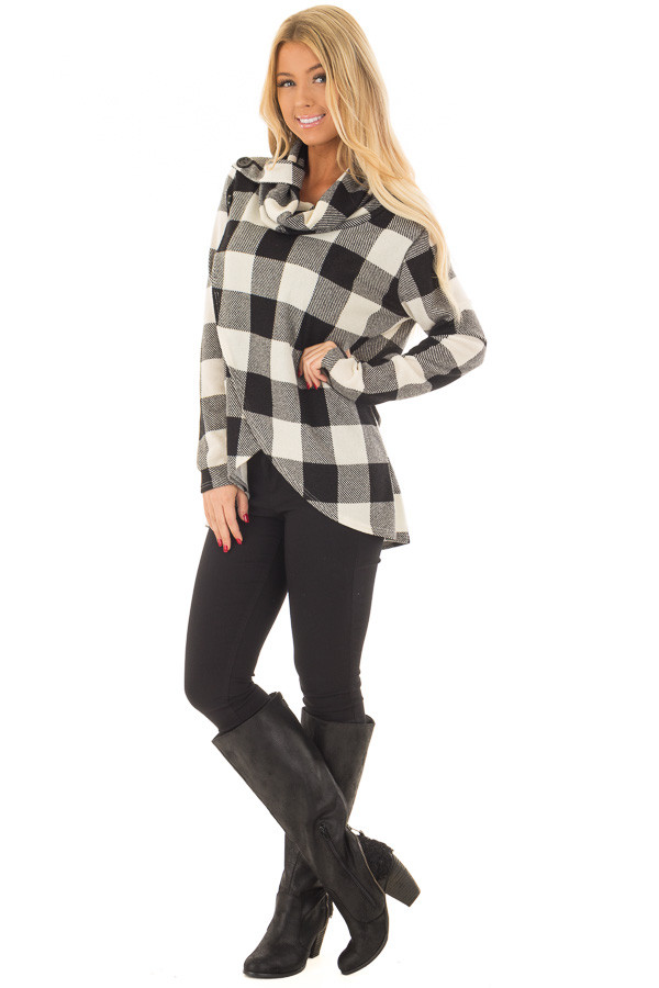 Black and Ivory Plaid Cowl Neck Wrap Style Sweater front full body