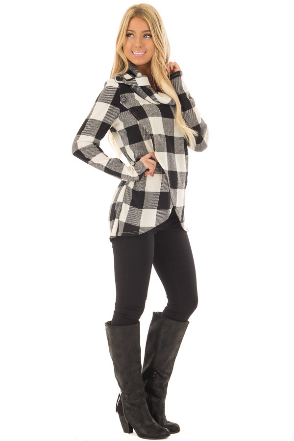 Black and Ivory Plaid Cowl Neck Wrap Style Sweater side full body