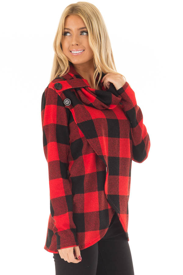 Black and Red Plaid Cowl Neck Wrap Style Sweater side closeup