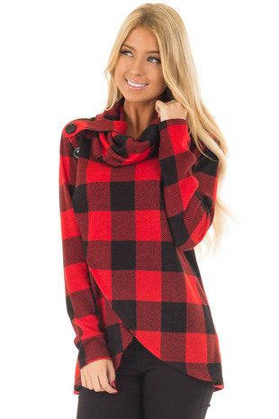 Black and Red Plaid Cowl Neck Wrap Style Sweater front closeup