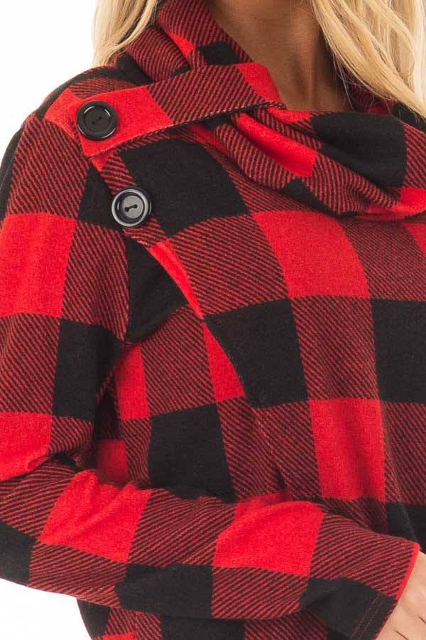 Black and Red Plaid Cowl Neck Wrap Style Sweater front detail