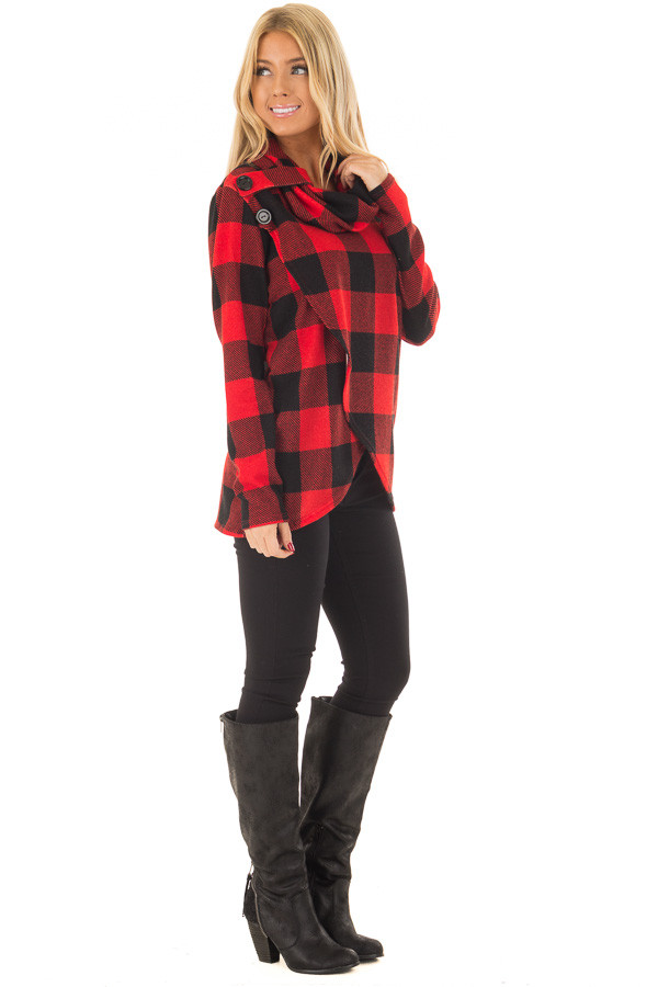 Black and Red Plaid Cowl Neck Wrap Style Sweater side full body