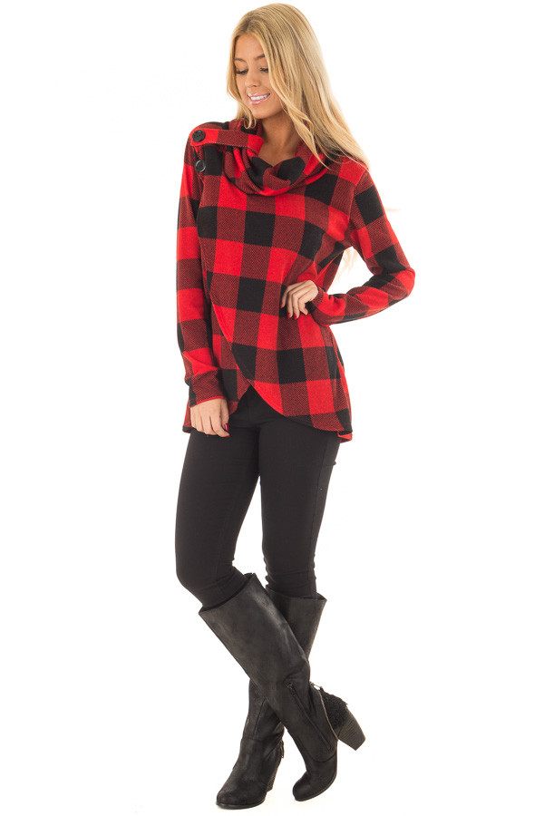 Black and Red Plaid Cowl Neck Wrap Style Sweater front full body