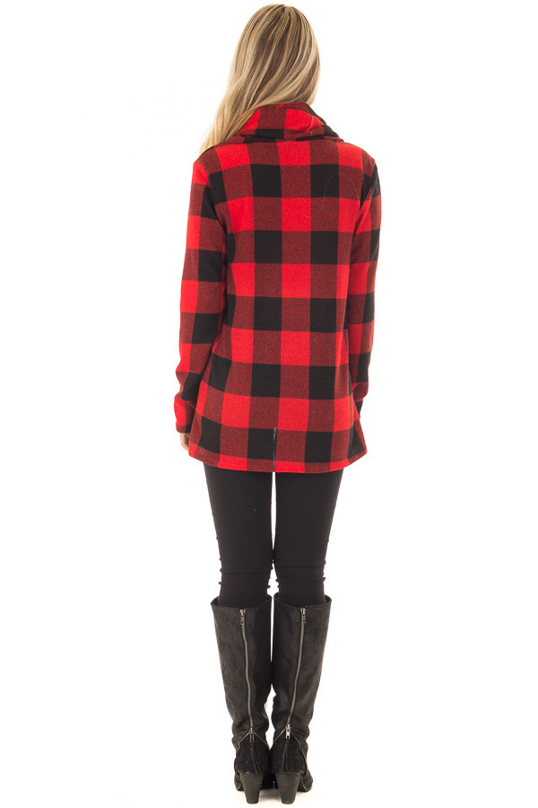Black and Red Plaid Cowl Neck Wrap Style Sweater back full body