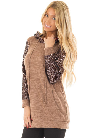 Mocha Comfy Hoodie with Sequin Sleeves and Hood front closeup