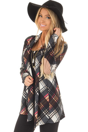 Multicolor Plaid Cardigan with Faux Suede Elbow Patches front closeup