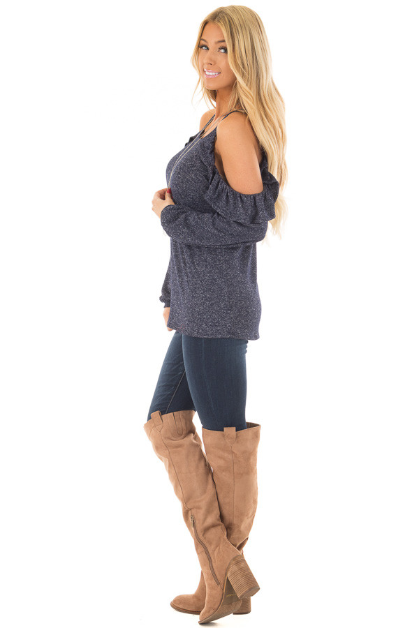 Navy Two Tone Cold Shoulder Top with Ruffle Details side full body