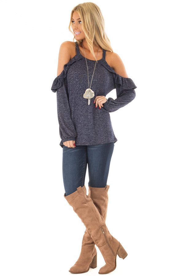 Navy Two Tone Cold Shoulder Top with Ruffle Details front full body