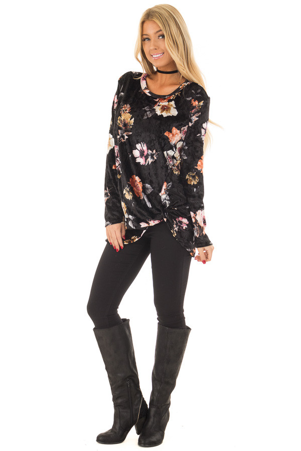 Black Velvet Floral Print Top with Twist Detail front full body