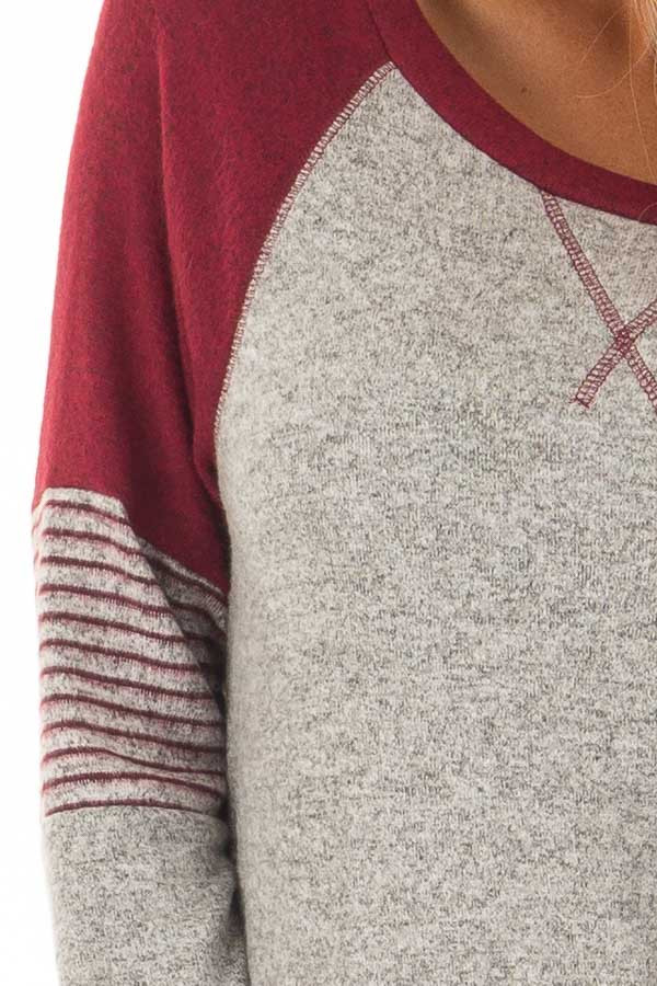 Heather Grey Soft Top with Burgundy Contrast detail