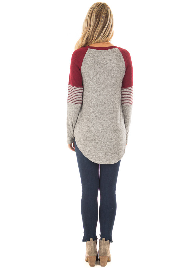 Heather Grey Soft Top with Burgundy Contrast back full body
