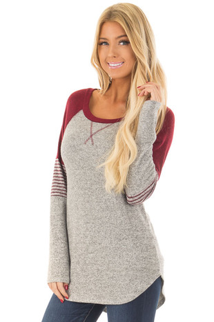Heather Grey Soft Top with Burgundy Contrast front close up