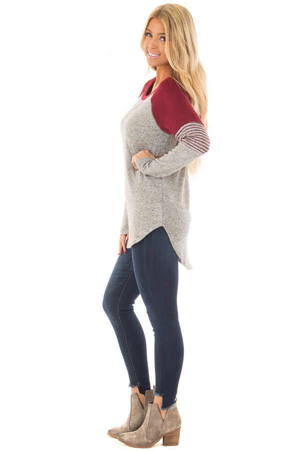 Heather Grey Soft Top with Burgundy Contrast side full body