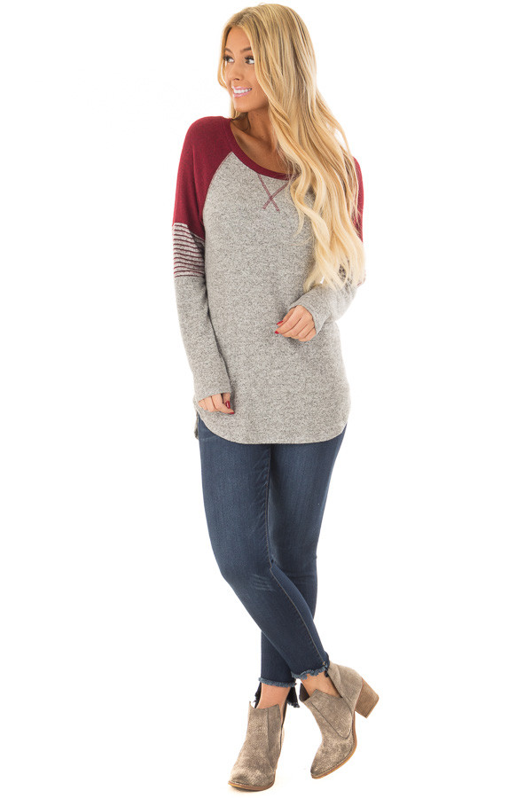 Heather Grey Soft Top with Burgundy Contrast front full body