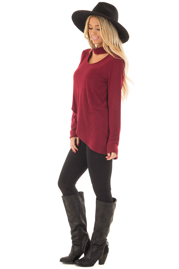 Burgundy Wrap Top with Chest Cutout side full body