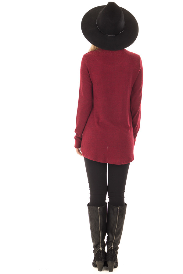 Burgundy Wrap Top with Chest Cutout back full body