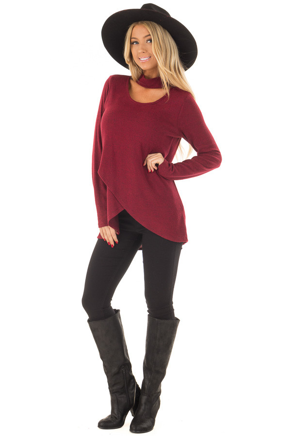 Burgundy Wrap Top with Chest Cutout front full body
