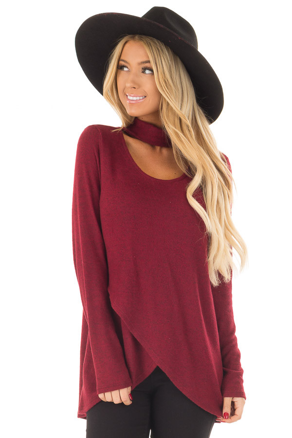 Burgundy Wrap Top with Chest Cutout front close up