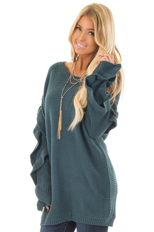 Teal Sweater with Ruffled Long Sleeves front close up