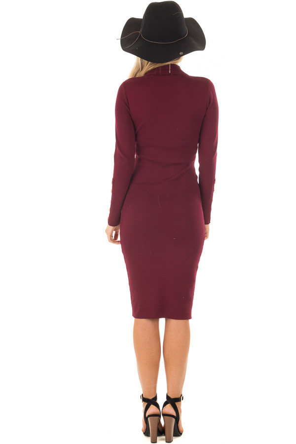 Burgundy Bodycon Midi Dress with Gold Button Details back full body