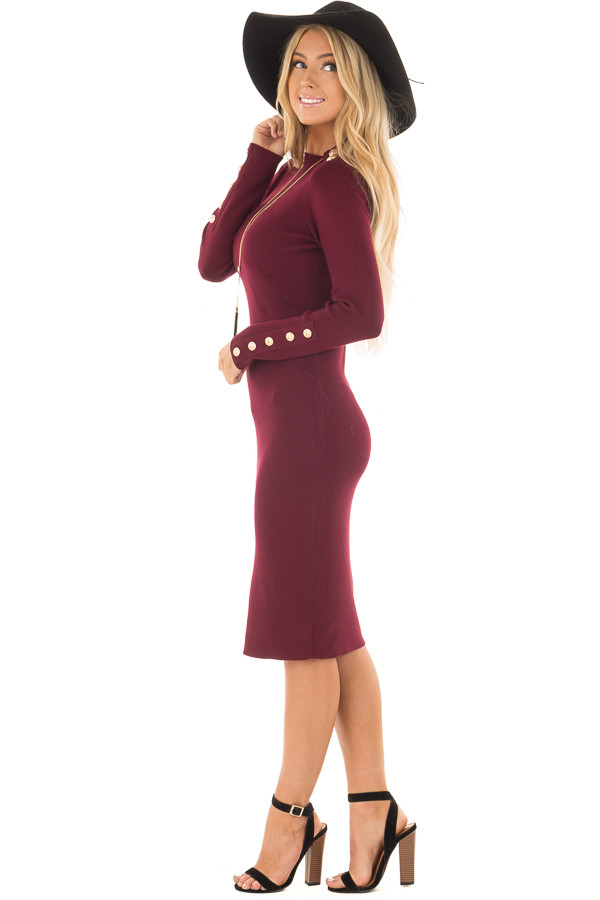 Burgundy Bodycon Midi Dress with Gold Button Details side full body
