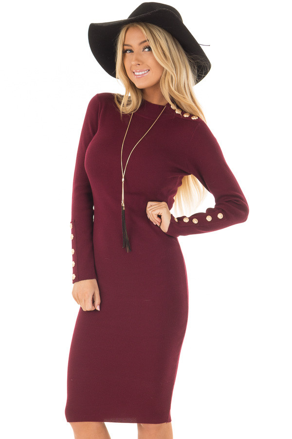 Burgundy Bodycon Midi Dress with Gold Button Details front close up