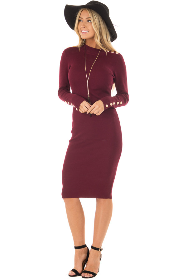 Burgundy Bodycon Midi Dress with Gold Button Details front full body