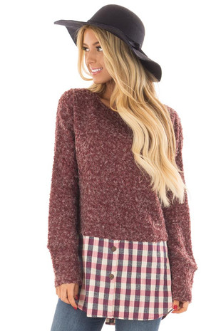 Wine Two Tone Sweater with Plaid Button Up Contrast front close up