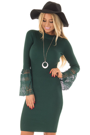 Hunter Green Ribbed Bodycon Dress with Crochet Bell Sleeves front close up