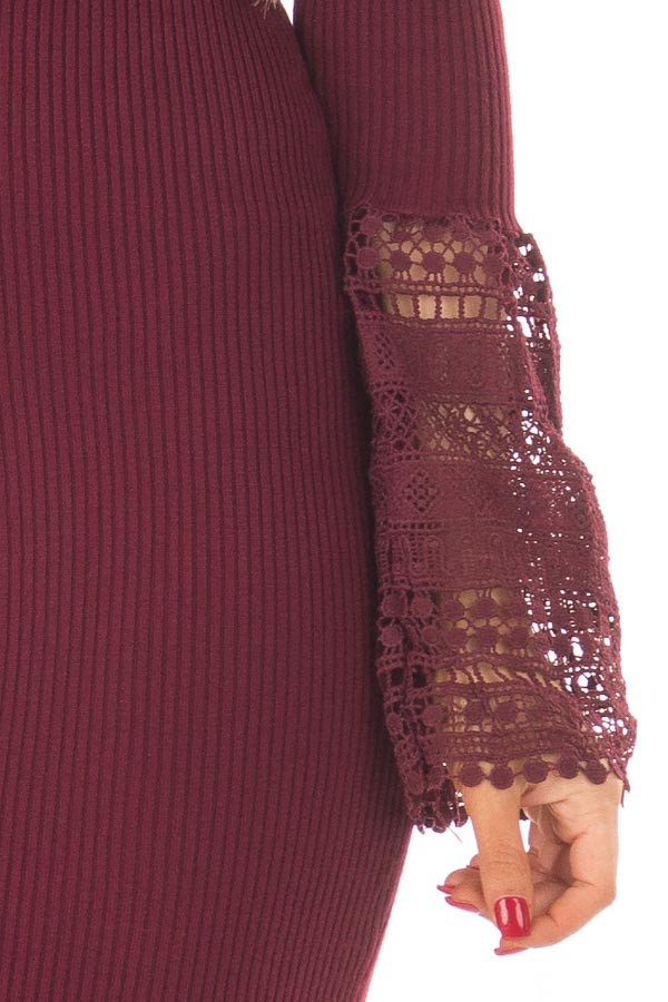 Burgundy Ribbed Bodycon Dress with Crochet Bell Sleeves detail