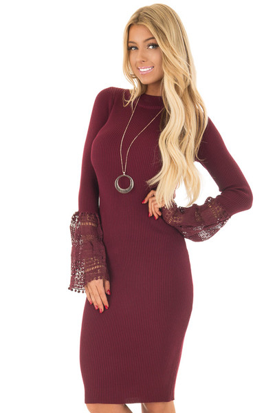 Burgundy Ribbed Bodycon Dress with Crochet Bell Sleeves front close up