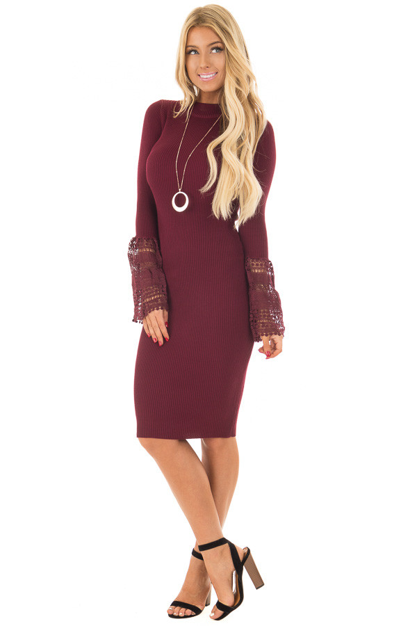 Burgundy Ribbed Bodycon Dress with Crochet Bell Sleeves front full body