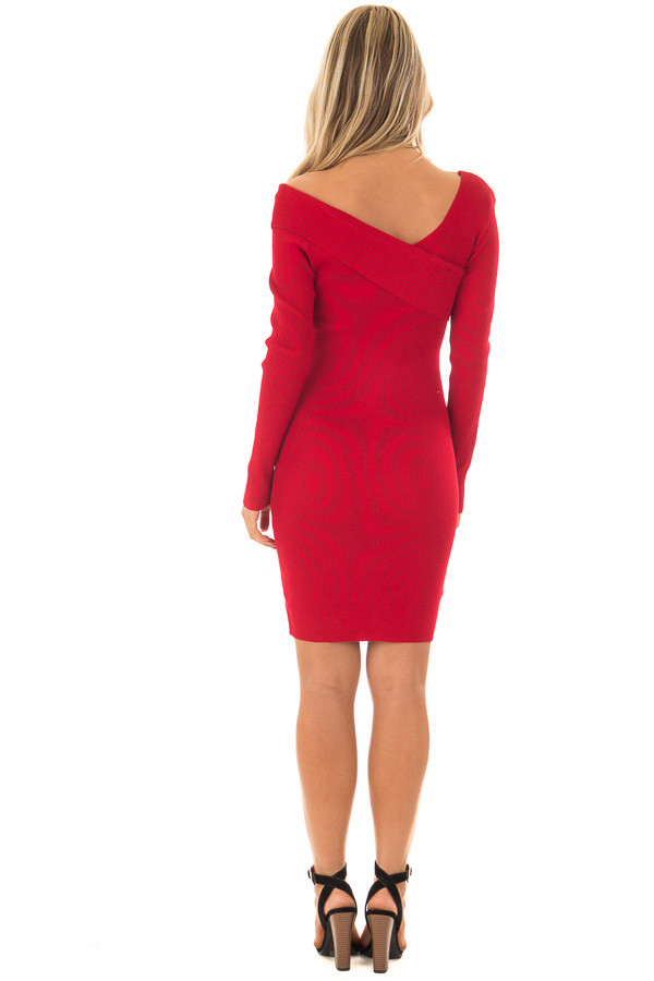 Cherry Red Bodycon Dress with Crossover Top back full body