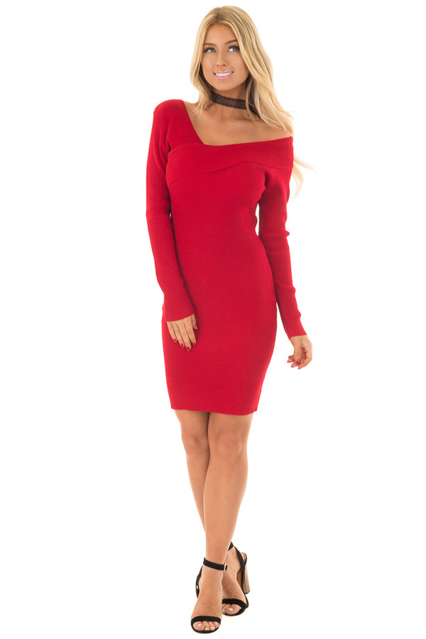 Cherry Red Bodycon Dress with Crossover Top front full body