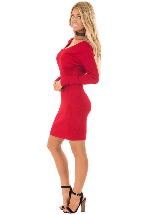 Cherry Red Bodycon Dress with Crossover Top side full body