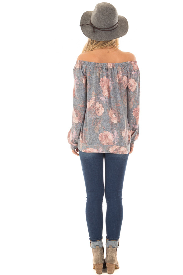 Slate Blue Floral Print Off the Shoulder Top with Front Tie back full body