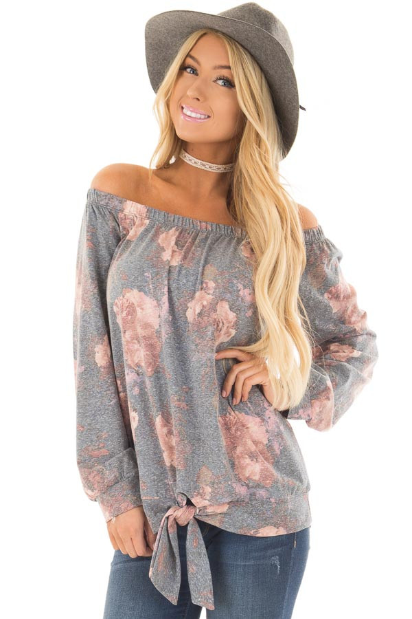 Slate Blue Floral Print Off the Shoulder Top with Front Tie front close up