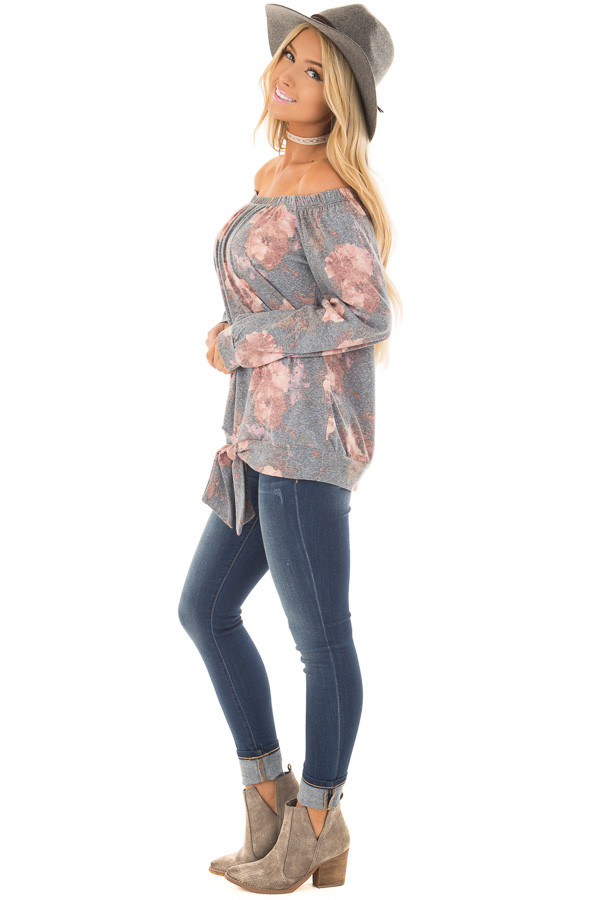 Slate Blue Floral Print Off the Shoulder Top with Front Tie side full body