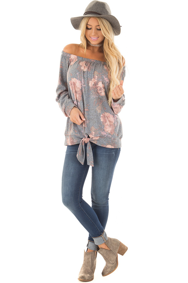 Slate Blue Floral Print Off the Shoulder Top with Front Tie front full body