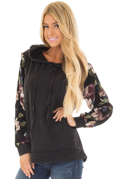 Black Hoodie with Floral Print Sleeves front close up
