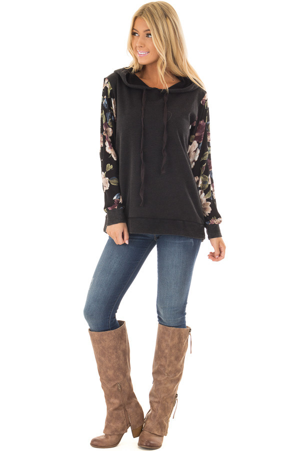 Black Hoodie with Floral Print Sleeves front full body