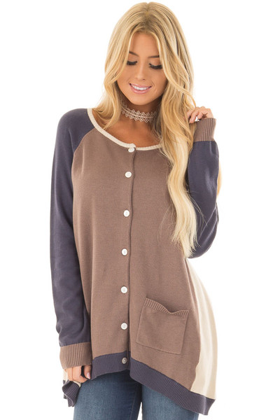 Mocha, Taupe and Navy Color Block Button Up Top front close up