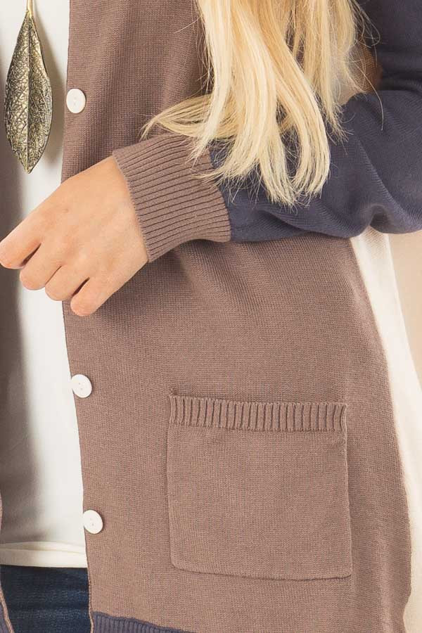 Mocha, Taupe and Navy Color Block Button Up Top detail