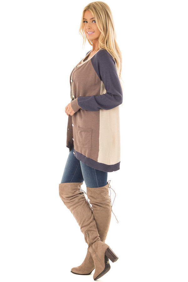 Mocha, Taupe and Navy Color Block Button Up Top side full body