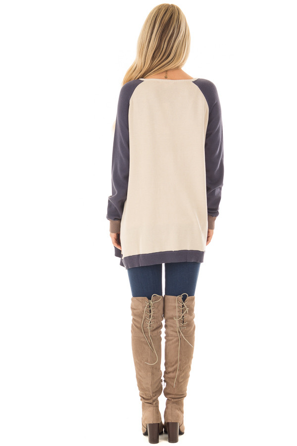 Mocha, Taupe and Navy Color Block Button Up Top back full body