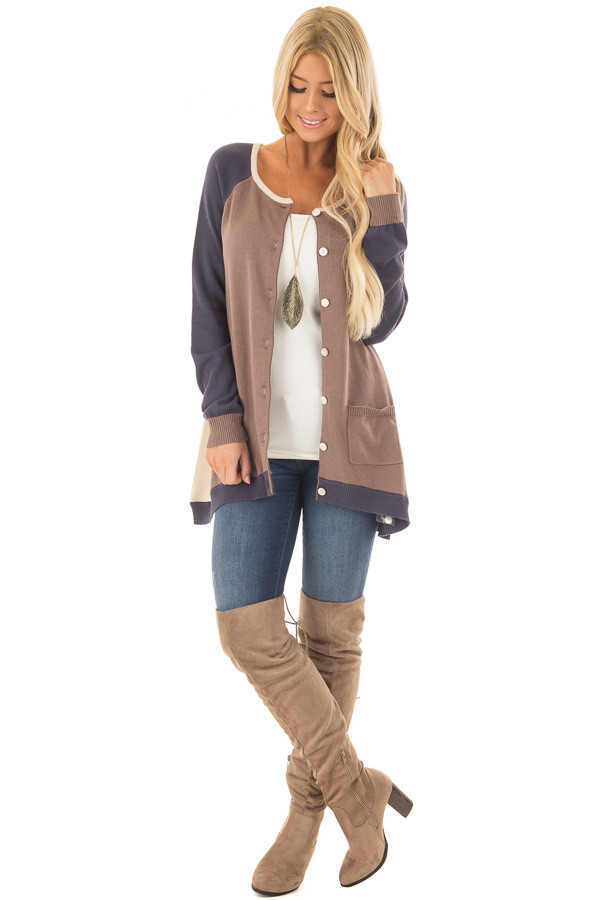 Mocha, Taupe and Navy Color Block Button Up Top front full body