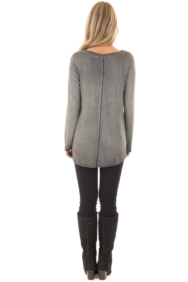 Charcoal Mineral Wash Top with Slit V Neckline back full body